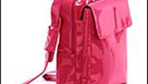 Vi kaster gjerne den lille sorte PC-vesken av traurig nylonstoff til fordel for rød lakk fra Kara B.  Foto: Kara B
