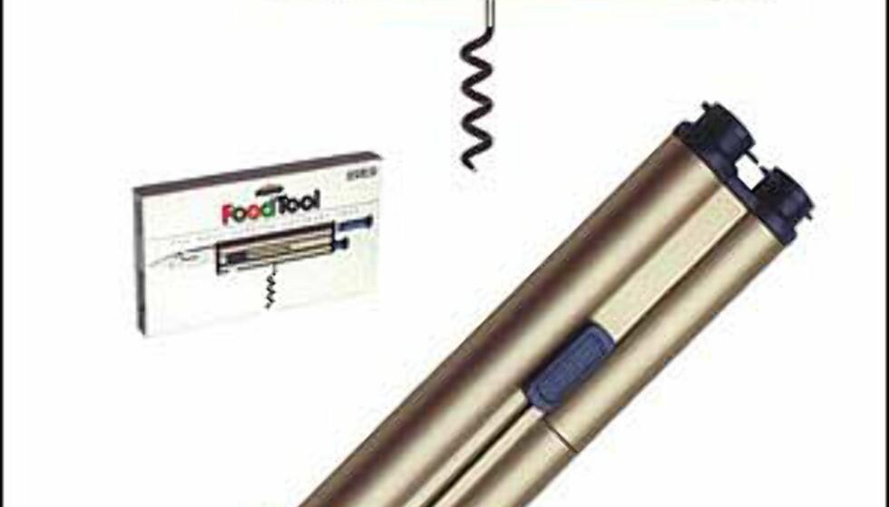 The Food Tool kalles denne snertne gadgeten fra Zelco. Her er det både kniv, boksåpner, vinåpner og krydder. Foto: Zelco Foto: Zelco