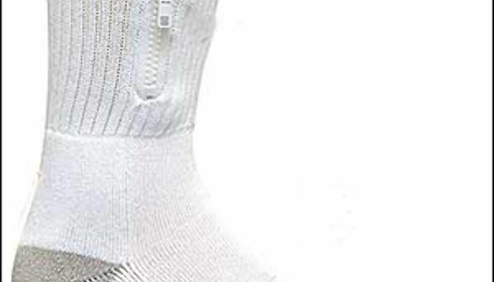 Sokk med glidelås og lomme - perfekt gjemmested for små verdisaker. Finnes også i sort. Foto: Zip It Gear Foto: Zip It Gear