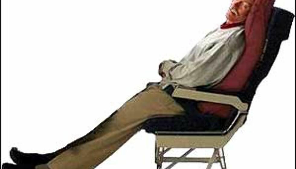 Kanskje kan denne oppblåsbare hjelperen fra Extend-it gi deg førsteklasses søvn på flyet? 1. class sleeper heter puten. Foto: Extend-it Foto: Extend-it