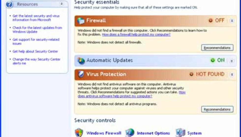 Security Center blir selve nerven i det nye sikkerhetsopplegget i Windows XP.