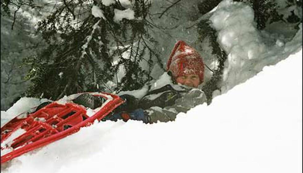 Christophe Kristian Blomberg på trugetur i snøen. Foto: Anita Blomberg Foto: Anita Blomberg