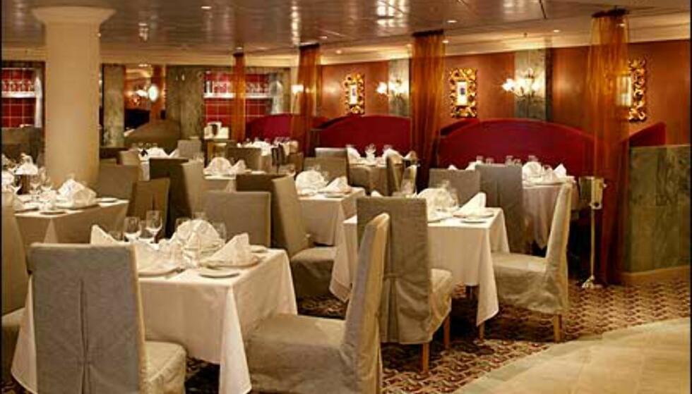 Klassisk eleganse på en av skipets mange restauranter.