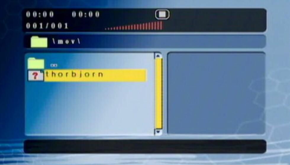 Når en filtype ikke støttes, vises et ikon med spørsmålstegn. Her - Quicktime.