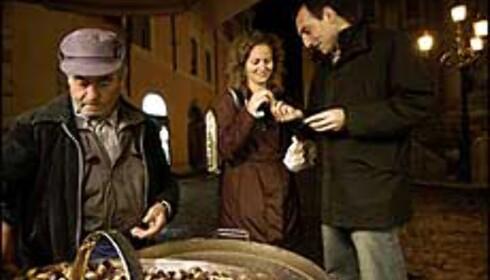 Miguel Angel og Sandra spiser nyristede kastanjer ved Trevifontenen. Foto: www.photito.com