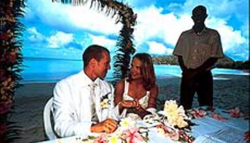 Bryllup på en strand? Vanskelig i Norge, langt lettere å få til utenlands. Foto fra Seychellene: Magellan Tours Foto: Magellan