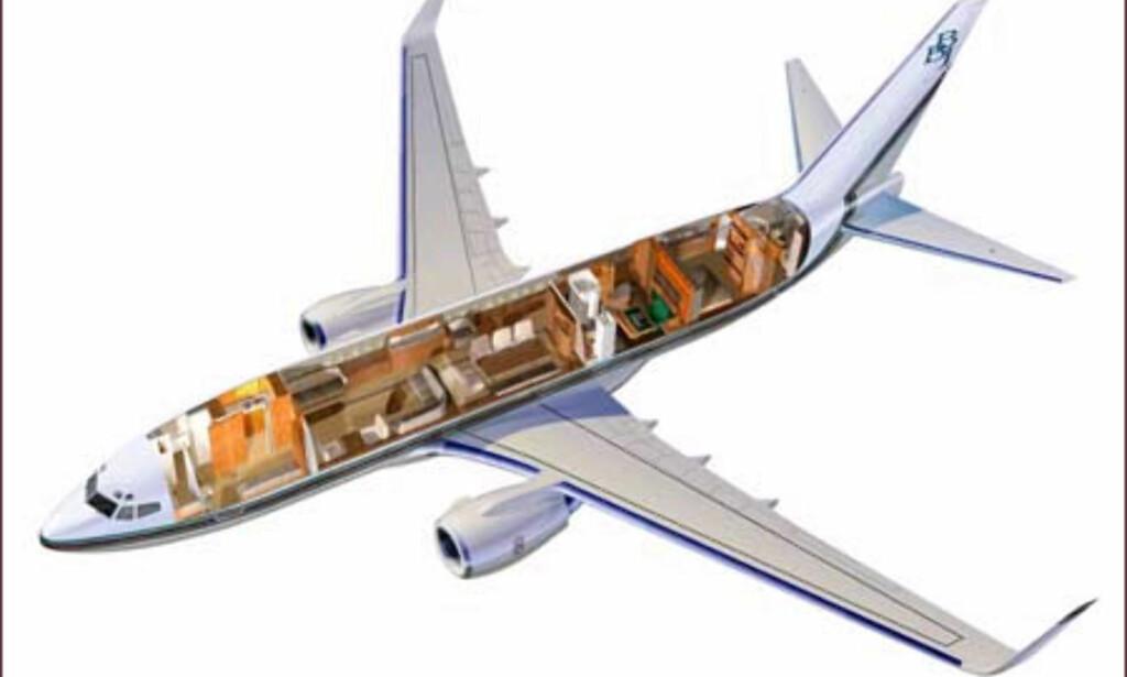 Tverrsnitt av businettjeten. Foto: Boeing business jet
