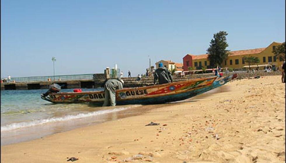 De tradisjonelle uthulte trebåtene er å se overalt langs Dakars lange strender, også på Goree.