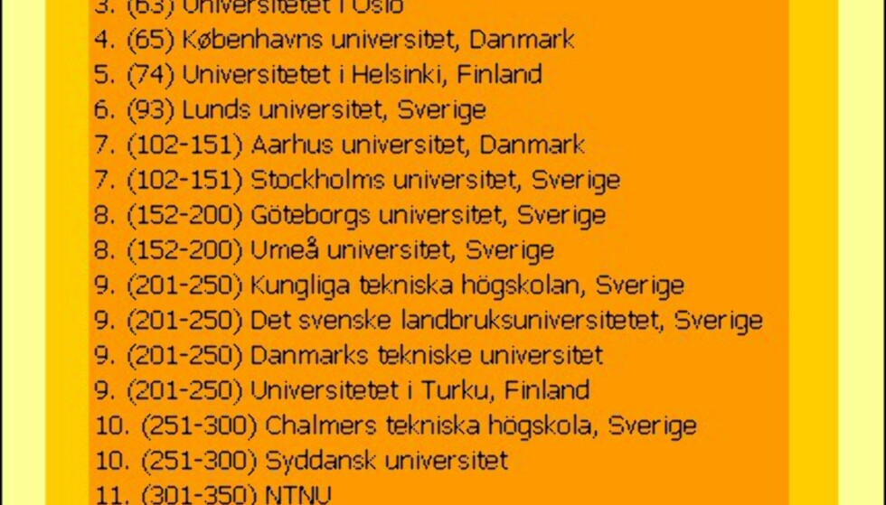 """Nordens """"beste"""" universiteter"""