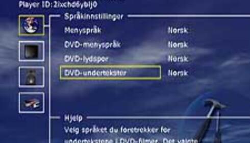 Menyen er oversiktlig og norsk.