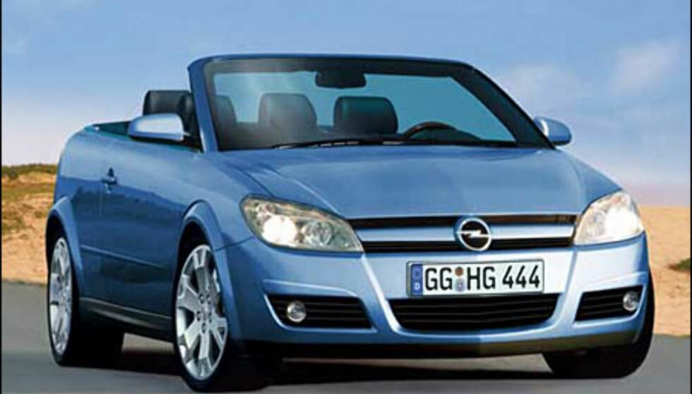 Nye Opel Astra vil komme som kupe-kabriolet som skal erstatte både kupe- og kabriolet-modellene. Presenteres kanskje allerede på Geneve-utstillingen i mars (manipulert bilde).