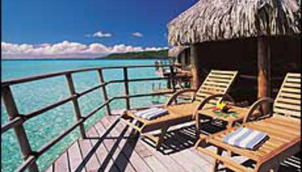 Sydhavsluksus på påler, Tahiti. Foto: Taha'a Pearl Beach Resort & Spa