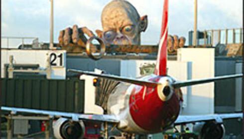 Gollum møter deg på Wellington International Airport.  Foto: Nick Servian