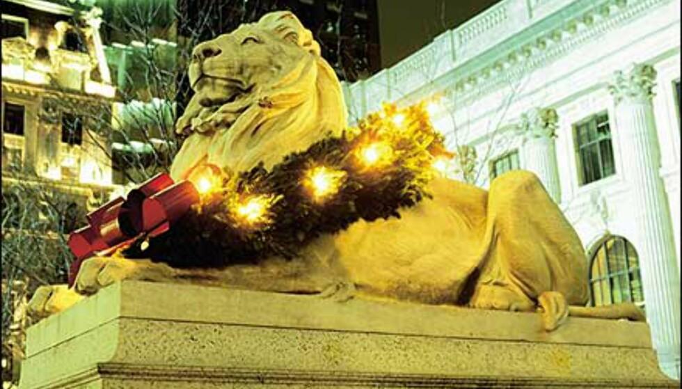 "Denne julepyntede løven ligger foran New York Public Library. <I>Bilde: <A TARGET=""_blank"" HREF=""http://www.nycvisit.com"">Copyright Bart Barlow/NYC & Company, Inc.</I>"