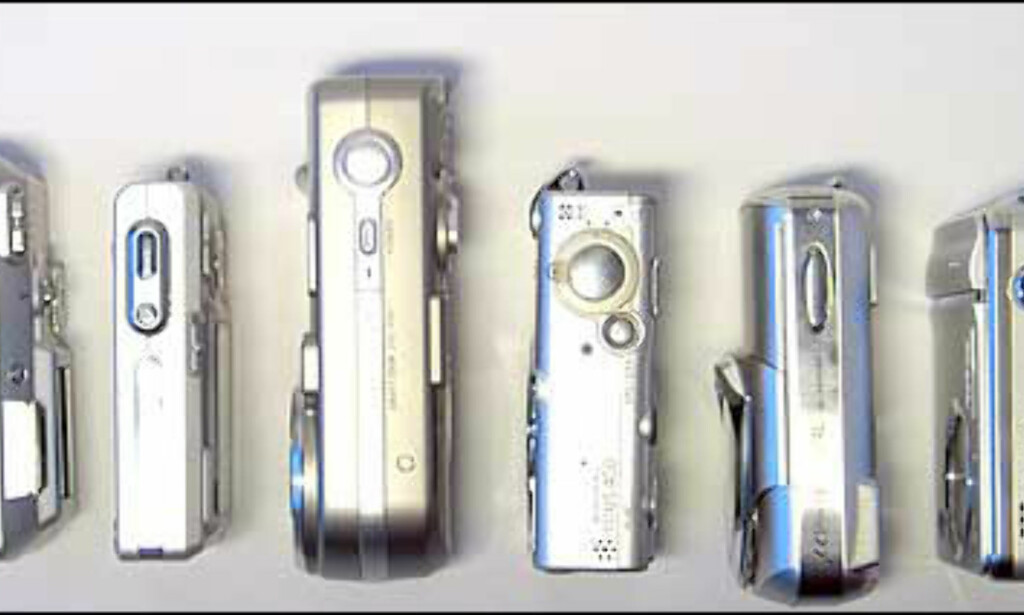 Kameraene fra venstre: Nikon Coolpix 3700, Casio Exilim EX-Z4, Sony Cybershot DSC-P92, Canon Digital Ixus 400, Olympus µ[mju:] 400 og Fujifilm Finepix F410