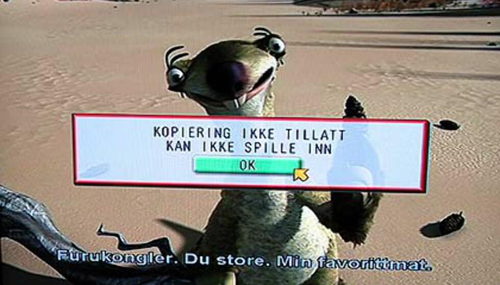 Og dette er feilmeldingen du får når du prøver å kopiere fra DVD-spiller til DVD-spiller.