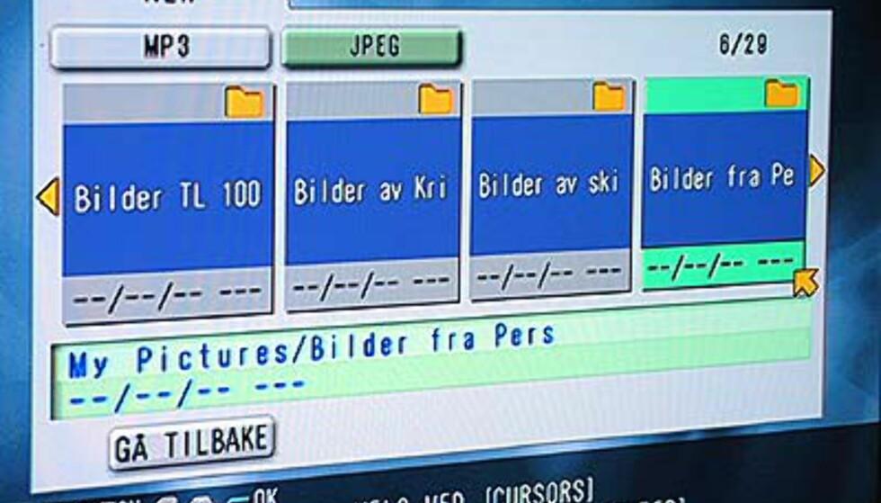 JPEG-bildene ligger de mappene du lagrer dem i på PCen. Skal du bruke spilleren til å kjøre bildeshow lønner det så å lagre bildene i den rekkefølgen du vil vise dem.