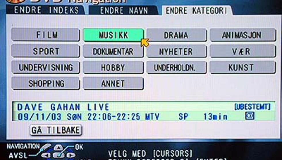 Det er enkelt å kategorisere opptakene du har gjort. Her velger vi kategorien musikk på opptaket av Dave Gahans konsert i Roskilde. Etter å ha lagret vil det stå -Musikk- i stedet for -ubestemt- i menyen.