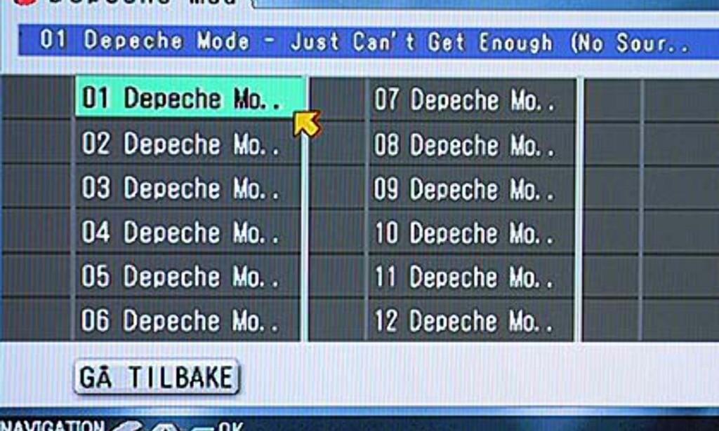 MP3-menyen - innholdet i en mappe.