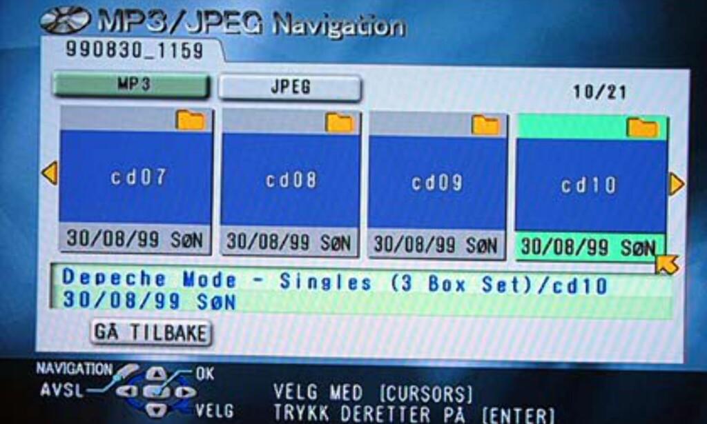 MP3-menyen - oversikt over mappene.