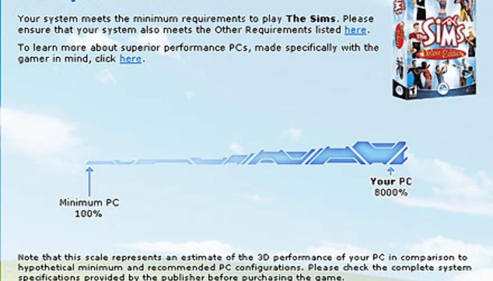 Sims er ikke spesielt krevende...