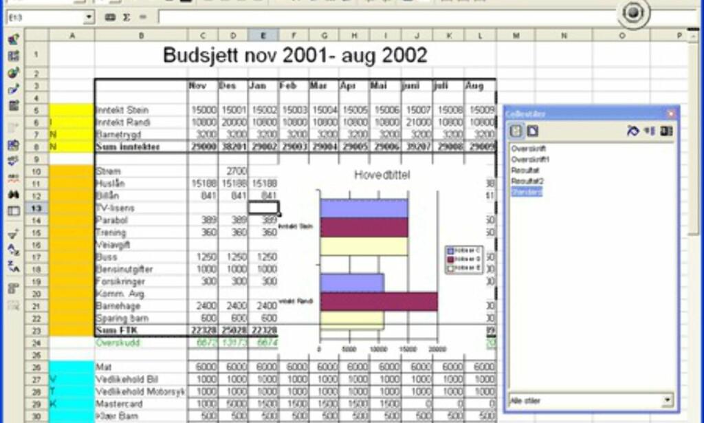 image: Skjermbilder fra OpenOffice.org 1.1