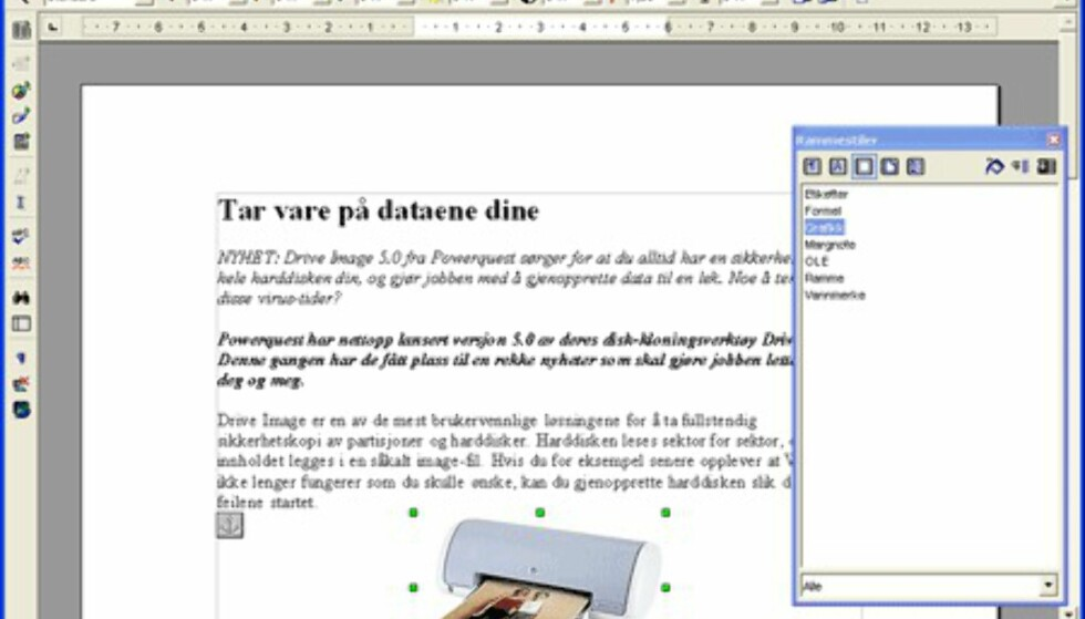 Skjermbilder fra OpenOffice.org 1.1