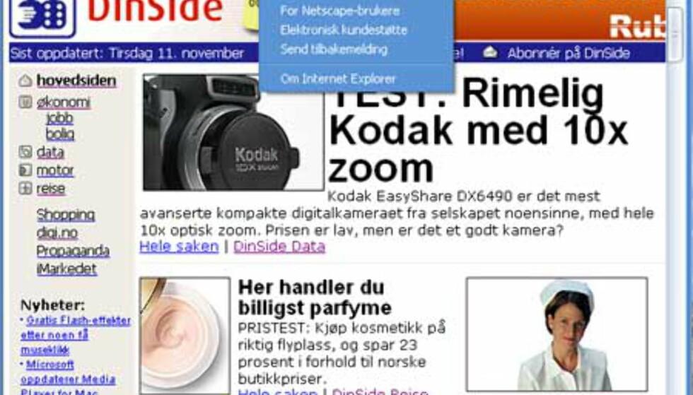 Menylinjer og farger forandres også i programmene, som her - Internet Explorer.