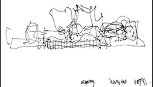 Gehrys skisser. Foto: Los Angeles Philharmonic Association