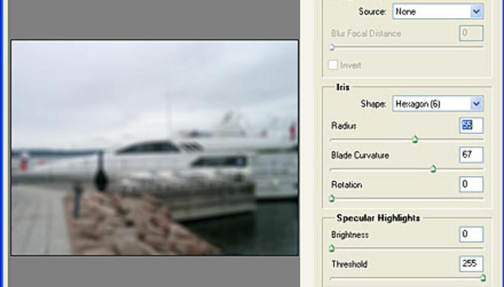 Det nye filteret Lens Blur