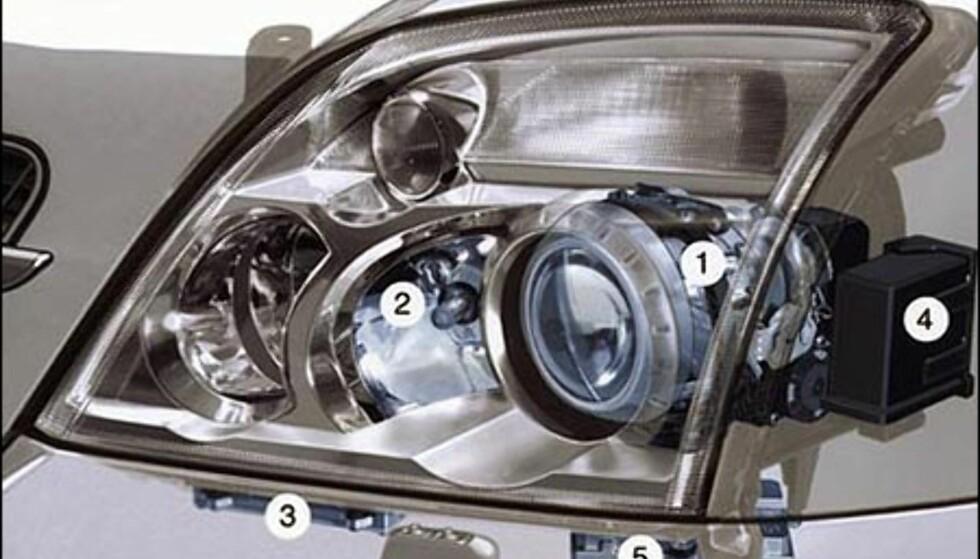 Opels innholdsrike frontlykt.