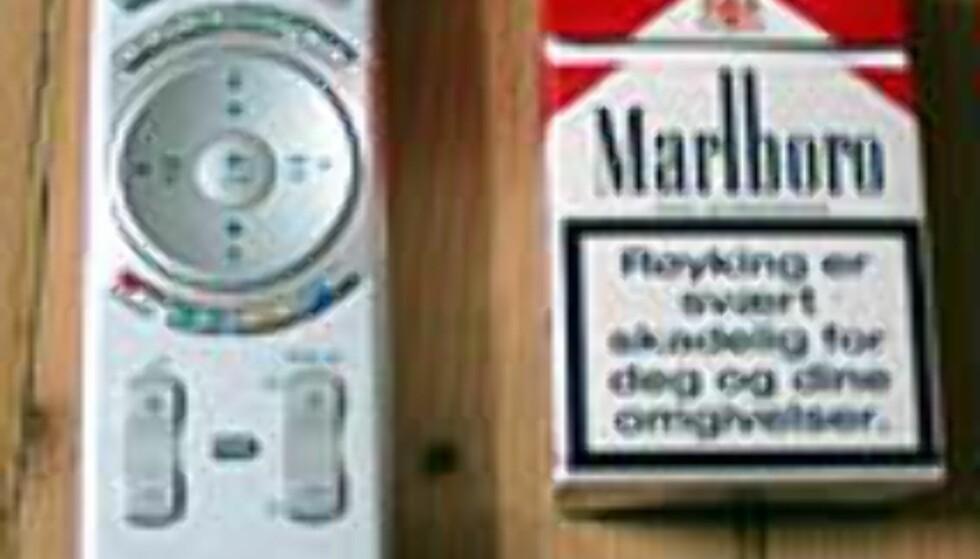 Vi reklamerer ikke for røyk, men gir en pekepinn på fjernkontrollens størrelse.