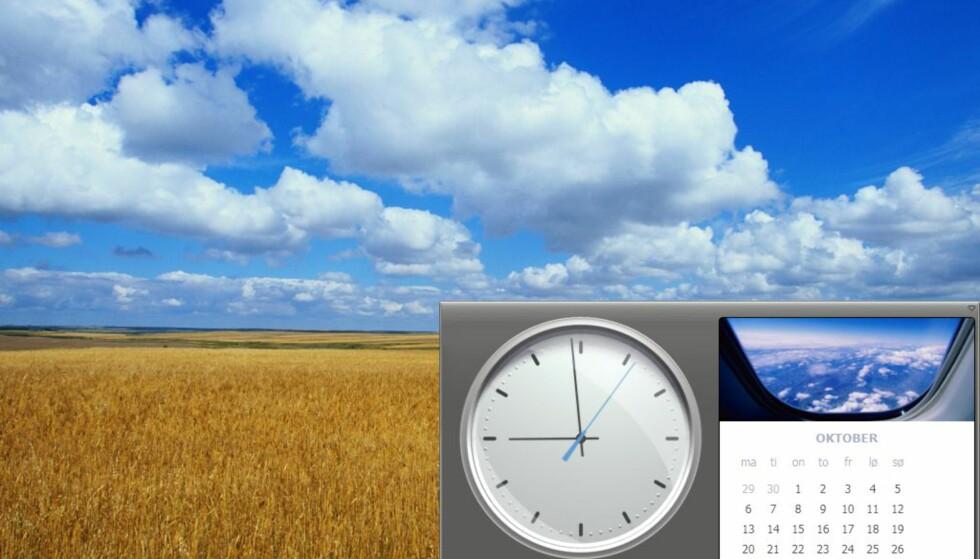 Du kan fjerne sidebaren dersom du for eksempel har lav skjermoppløsning. Klokka og kalenderen er fortsatt tilgjengelig til høyre på startlinjen.