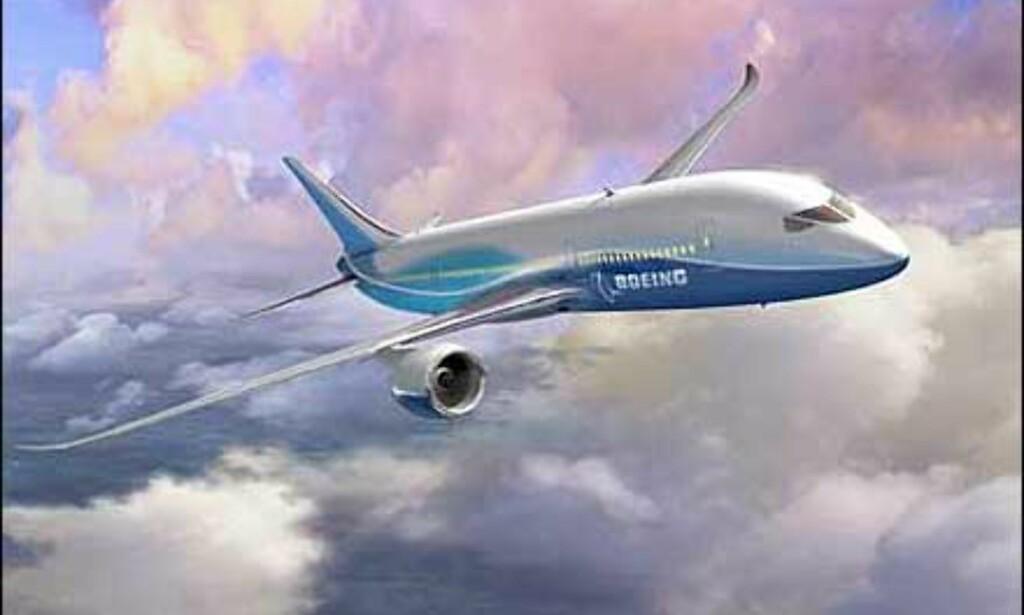 Dreamliner eller Boeing 7E7 med spennende linjer i hale, vinge og snute.
