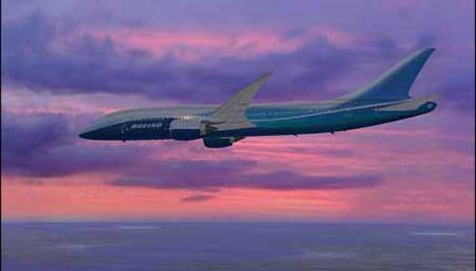 Merk snute- og halepartiet på Boeing 7E7.