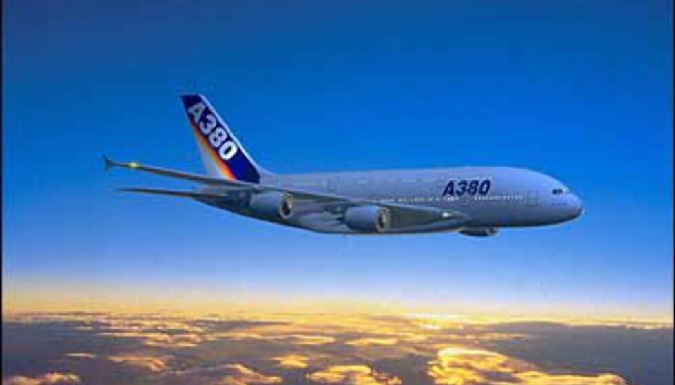 A380 fra Airbus - inn i solnedgangen med to fulle etasjer med plass til passasjerer. Foto: Airbus