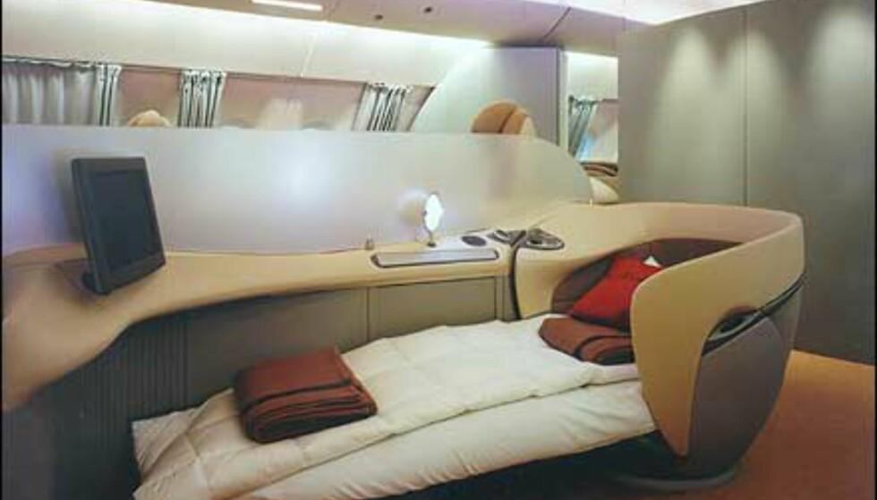 Seng om bord? Ja takk, sier vi! Dette er fra A380. Foto: Airbus