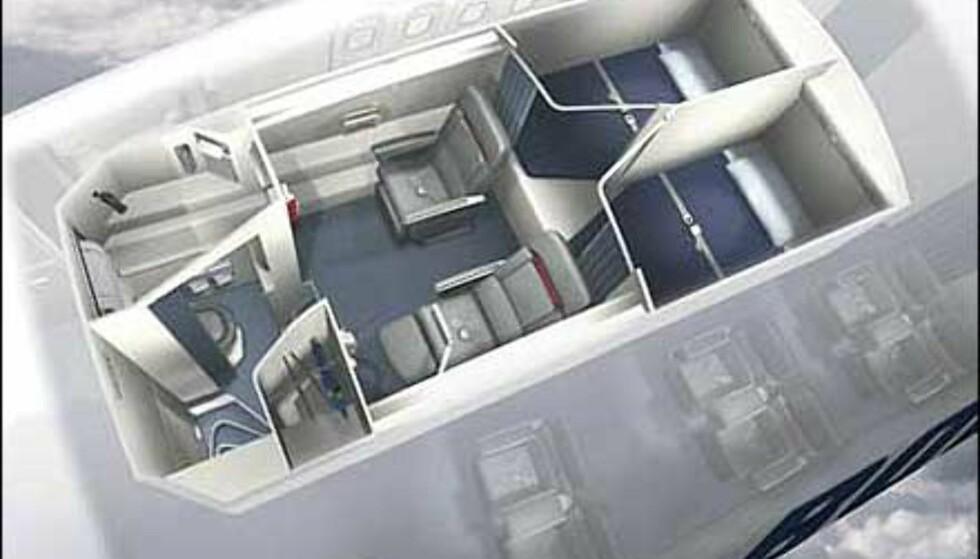 Tegning av hvordan crewets hvilerom kan se ut på Boeing 777. Foto: Boeing