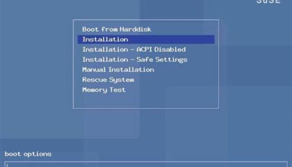 Her er bootmenyen som dukker opp når du starter PCen med første installasjons-CD i CD-leseren