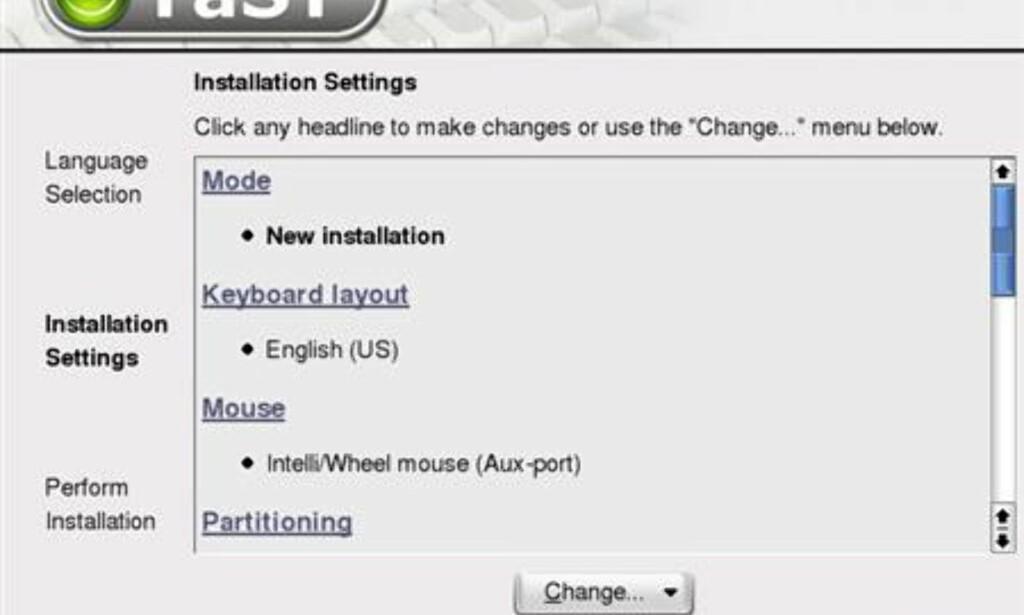 De automatiske installasjonsinnstillingene kan du endre på ved å klikke på seksjonen. For eksempel måtte vi endre Keyboard Layout fra engelsk til norsk.