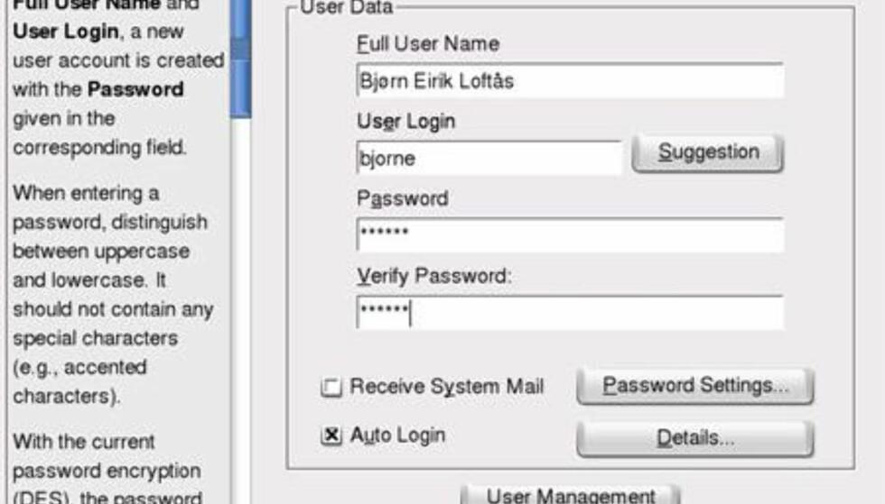 Brukerregistrering på slutten av installasjonen. Ved å krysse Auto Login slapp vi å skrive passord hver gang vi startet PCen. Sikkerhetsmessig er dette på den annen side ikke å anbefale.