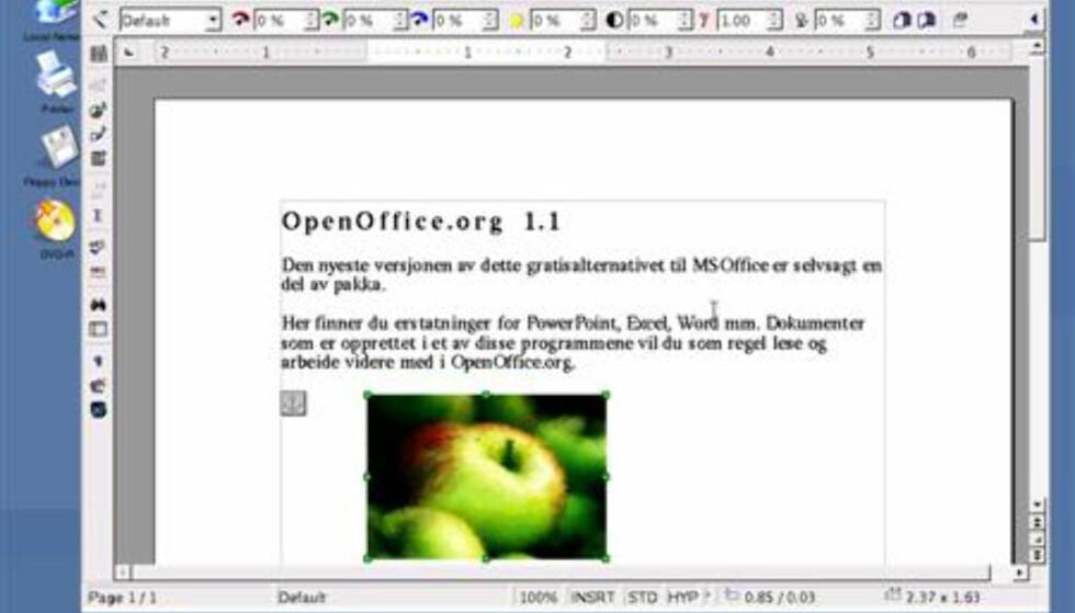 OpenOffice.org 1.1 inneholder Microsoft-kompatibel tekstbehandler, presentasjonsprogram og regneark.