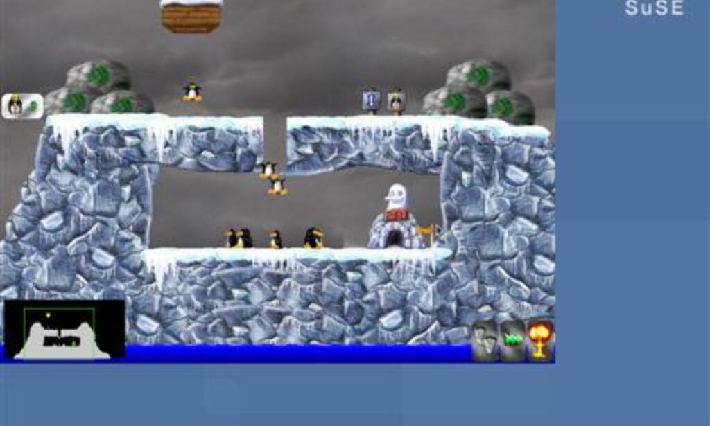 Pingus er et spill som har mange likhetstrekk med en annen klassiker for DOS/Windows-verdenen...