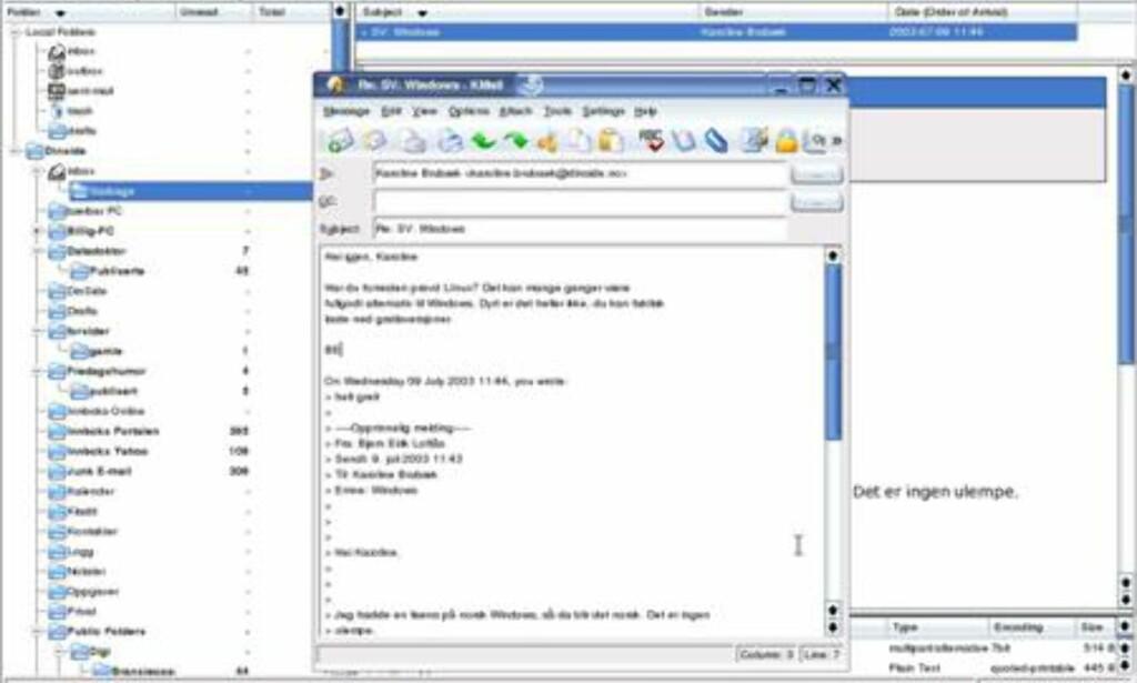 KMail er standard epost-program, og støtter både POP og IMAP. IMAP-støtten er derimot begrenset, viste vår test.