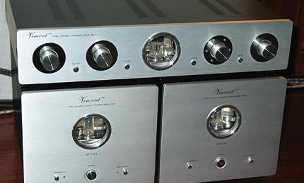 Kraft fra Vincent: 1 stk SA-T1 Tube Stereo, samt 2 stk Tube Class A Mono.