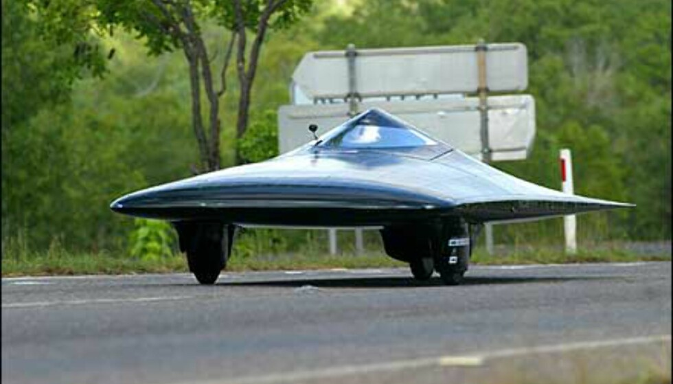 Nesten som et Stealth-fly, bilen MIT. Foto: Foto: David Hancock/World Solar Races