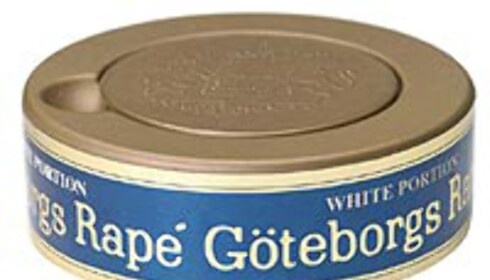 """Göteborgs-Rapé porsjonssnus. Legg merke til det nye lokket - der du kan legge dine brukte """"prillar"""" til du får kastet dem."""