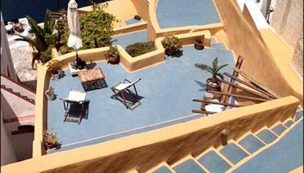 Santorini-terrasser. Foto: Toralf Levang Jr Foto: Toralf Levang Jr