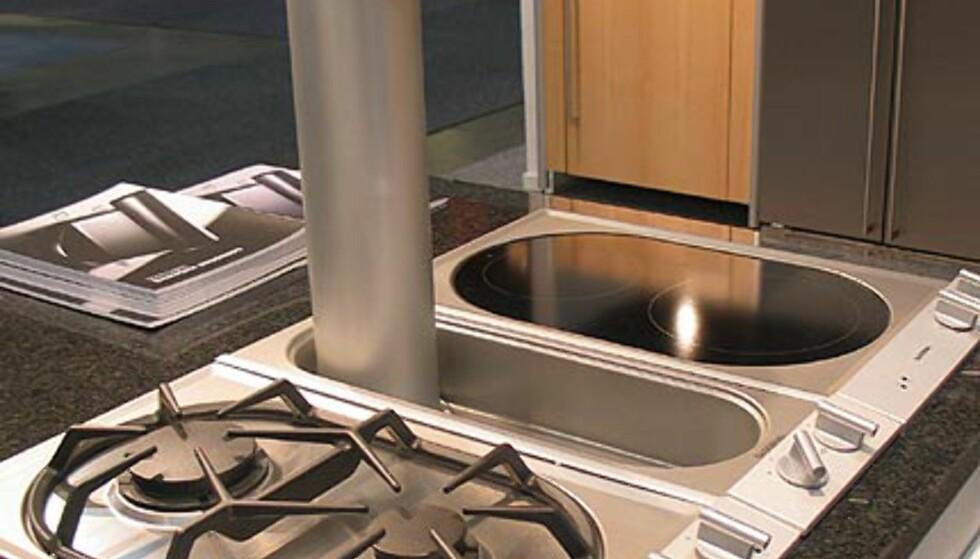Gaggenau: Kan design. Ventilatoren er her oppe. Den suger forøvrig også fra sidene.