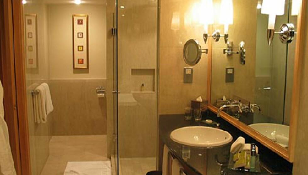 Slik vil vi ha det. Badet på Muriata Kuala Lumpur var herlig. Badekaret & toalettet kom ikke med på bildet.